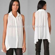 2012 blusa de gasa, los últimos diseños de camisetas para las mujeres el desgaste del verano - spanish.alibaba.com