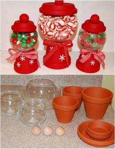 DIY Clay Pot Christmas Candy Jars Don't you just love Christmas crafts? There is just something so fun about making decorations for the holidays. I always try to do a few different DIY Christmas decorations every year so that means that Clay Pot Crafts, Diy Clay, Xmas Crafts, Christmas Candy Crafts, Diy Christmas Decorations, Christmas Crafts To Sell Bazaars, Kids Holiday Crafts, Christmas Decorating Ideas, Christmas Crafts To Make And Sell