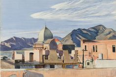 """Edward Hopper (1882-1967)   """"Construction in Mexico"""", 1946. To escape the tense climate of New England, Hopper and his wife began visiting Mexico for their summers in 1943. On their first trip they discovered the small town of Saltillo, and they returned there each summer for several years. Always painting en plein air and after 5pm in order to record the best late afternoon light, Hopper produced an impressive group of watercolors inspired by the old town."""