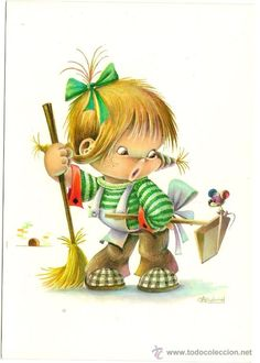 Interesante postal: Niño, barriendo y ratoncito. Editada en el año 1965. C. y Z. nº 6625