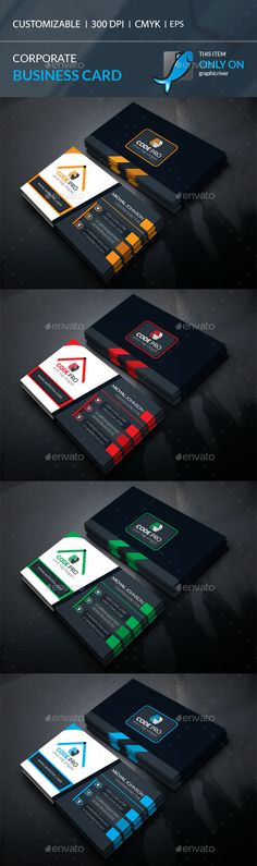 #Corporate #Business #Card - Corporate Business Cards Download here: https://graphicriver.net/item/corporate-business-card/19571581?ref=alena994
