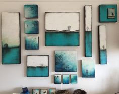 [Encaustic artwork grouping by Alanna Sparanese .a collection of turquoise inspired artwork, ENCAUSTIC ARTWORK] Diy Wall Art, Diy Art, Wall Art Decor, Wall Decorations, Wall Of Art, Painted Wall Art, Painted Canvas, Hand Painted, Encaustic Painting