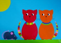 KATTEN EN MUIS Cat Mouse, Painting For Kids, Abstract Art, Diy Crafts, Cats, Illustration, Drop, Paintings, Drawings