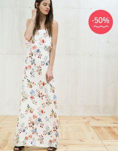 Long print dress with ruffles - Hello Summer -50% - Bershka Spain