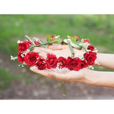Crown tiara red roses. Wedding and ceremony. Hair accessories women. ($57) ❤ liked on Polyvore featuring accessories, hair accessories, rose flower crown, bridal floral crown, crown tiara, bridal crown and floral garland