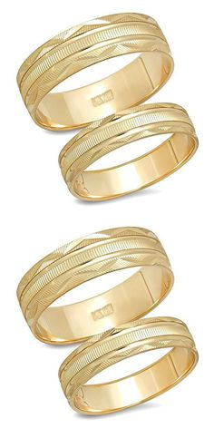 6d56bce98 14K Solid Yellow Gold His & Her's Matching Laser Cut Design Wedding  Band Ring Set