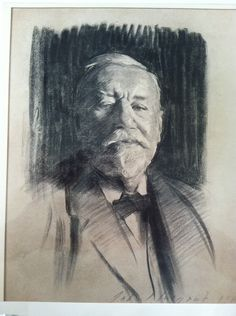 Charcoal portrait of Charles Sprague Sargent (1841-1927), by his cousin John Singer Sargent (1856-1925). This portrait was drawn here at the Sargent House, on the lawn, when J.S. visited in 1919. J.S. Sargent stopped painting oil portraits in his late years, but did a number of charcoal drawings. He completed and presented the portrait to the Museum. Sargent House Museum collection, Gloucester, MA.