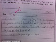 Worrying: Let's hope this young pupil was trying to be tongue in cheek