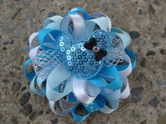 Hey, I found this really awesome Etsy listing at https://www.etsy.com/listing/198033366/minnie-mouse-hair-bow-blue-silver-and