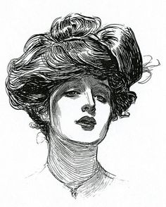 Gibson Girl Drawing - A Gibson Girl, Circa 1902 Lithograph by Charles Dana Gibson Charles Dana Gibson, Gilded Age, Ink Illustrations, Paper Illustration, Girl Tattoos, Illustrators, Sketches, Flora, Edwardian Fashion