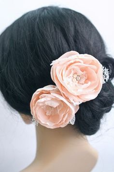 Vintage Inspired Wedding Flower Fascinator, Bridal Hair Flowers, Pink, Rose, Peach Wedding Hair Clips, Bridal Accessories, Wedding Flowers