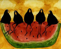 Whimsical Painting - Hubbs Art Folk Prints Whimsical Funny Bird Crow Blackbirds Picnic Watermelon by Debi Hubbs