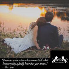 """Het is weer tijd voor inspiratie!  """"You know you're in love when you can't fall asleep because reality is finally better than your dreams."""" ― Dr. Seuss  Kent u een mooie, liefdevolle quote die u graag op vergelijkbare manier ziet gepresenteerd? Laat het ons weten!  #tagyourlover #lovequote #love #marriage #wedding #weddingrings #gold #diamonds #steinberg #123gold #steinbergnl #123goldnl"""
