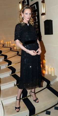 Look of the Day - Prada Dress - Ideas of Prada Dress - Uma Thurman nailed cocktail dressing in a belted Prada dress with large sequins a coordinating headband dangling earrings and criss-cross sandals. Givenchy, Valentino, Elsa Peretti, Carolina Herrera, Karl Lagerfeld, Celebrity Outfits, Celebrity Style, Dior, Prada Dress