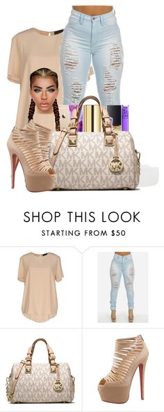 """""""beige"""" by ballislife ❤ liked on Polyvore featuring Atos Lombardini, MICHAEL Michael Kors and Christian Louboutin"""