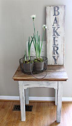 cottage style whitewash simple table vignette