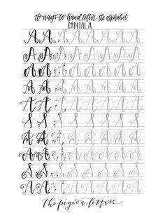 Hand-Schriftzug Praxis Blätter 10 Ways to Hand Buchstabe des
