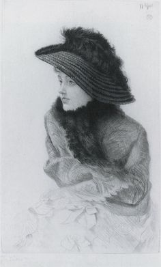 Portrait of M.N. (Portrait of Mrs. Newton), 1876, etching and drypoint by James Tissot