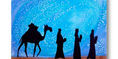 We Three Kings Celebrate Three Kings Day with a silhouette painting of the wise men. Create a beautiful night sky with Crayola® Watercolor Paints and salt. Christmas Art Projects, Christmas Paintings, Holiday Crafts, Man Crafts, Bible Crafts, King Craft, King Painting, Salt Painting, Watercolor Painting