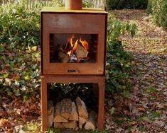 Corten Steel Thor Burner in the autumn Garden Features, Water Features, Thor, Stove Fan, Weathering Steel, Fire Bowls, Corten Steel, Wood Burner, Wood Storage