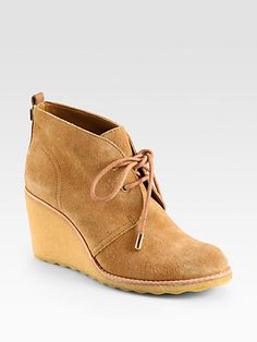 Tory Burch - Vicki Suede Lace-Up Wedge Ankle Boots - Saks.com