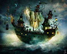 Alexander Jansson - Circo surrealista ~ NQ Illustrations, Children's Book Illustration, Fantasy World, Fantasy Art, Fantasy Places, Vladimir Kush, Whatsapp Wallpaper, Ghost Ship, Art Sculpture