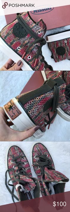 NWB | CONVERSE x MISSONI WOMENS SZ 8 ONE PAIR AVAILABLE. New never worn CONVERSE x MISSONI SIZE 8 WOMEN. FULL RETAIL 200$. GORGEOUS DETAIL 😍 Ships securely same or next day from my smoke free home in original CONVERSE x MISSONI box.  PRICE IS FIRM. NO SALES TAX ON POSH! 🤑 Bundle items to save.   100% authentic CONVERSE product purchased direct. Converse Shoes Sneakers