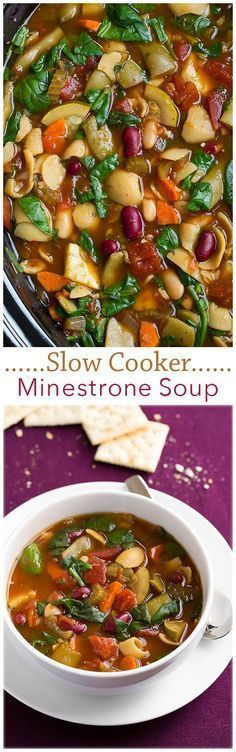 Slow Cooker Minestrone Soup - this soup is so SO good!! A fall staple for sure. #slowcooking