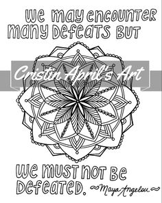 printable adult coloring book page maya angelou quote mandala instant download diy wall arthand drawn digital we must not be defeated