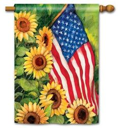 Patriotic House Flag American Sunflowers by Breeze Art, vibrant colors