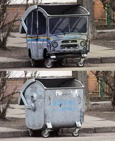 Dumpster transformed by street art