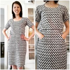 Deb's chevron print Bettine dress | Tilly and the Buttons