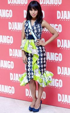 Pretty in Prints from The Best of the Red Carpet Kerry Washington hit the Django Unchained premiere in Rome in a mixed print Peter Pilotto spring 2013 dress and navy Nicholas Kirkwood heels. Worst Prom Dresses, Ugly Dresses, Nice Dresses, Summer Dresses, Bad Fashion, Fashion Fail, Celebrity Dresses, Celebrity Style, Kerry Washington
