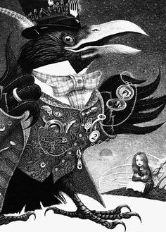 """Crows Ravens: Illustration by artist Vladyslav Yerko for """"The Snow Queen,"""" by Hans Christian Andersen. Art And Illustration, Botanical Illustration, Art Illustrations, Fairy Tale Images, Eagle Images, American Crow, Between Two Worlds, Queen Art, Beautiful Fairies"""