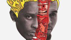 Young Thug, Chris Brown, Mixtape, Drop, Portrait, Instagram, Men Portrait, Portrait Illustration, Portraits