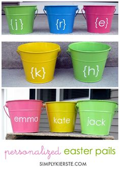 Use darling personalized Easter pails instead of baskets! They're easy to make, and so adorable with both names and initials on them.