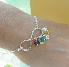 Personalized Infinity Bracelet with THREE initials by BriguysGirls, $43.50