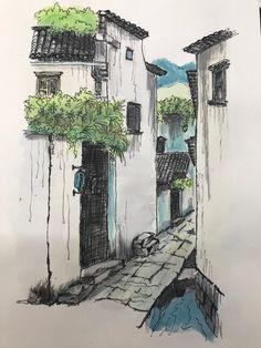 China old village  Watercolor pencil