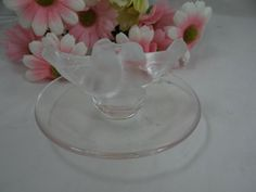 Signed Lalique Frosted Glass Kissing Doves Ring Holder Dish