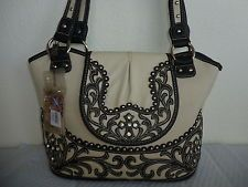 Montana West Beige W Rhinestones Crosses Spiritual Collection  Handbag