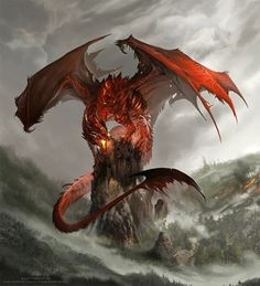 Fierce red dragon! Art by Alector Fencer