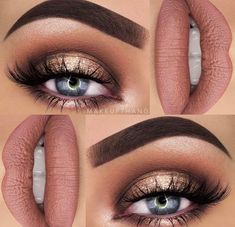 Makeup Artist ^^ | https://pinterest.com/makeupartist4ever/ Neutral gold halo eye with nude lip