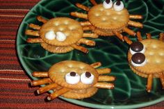 Spider Snacks-cooking project-ritz, peanut butter, pretzels, and raisins or…