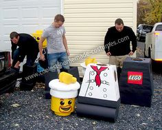 LOVE LOVE these Homemade Lego Minifigures Group Costume