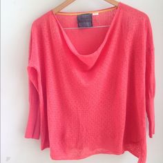 Anthropologie sweater Lightweight linen/cotton/nylon cowl neck pointelle 3/4 sleeve sweater; side slits, loose fit, size small, brand is Guinevere, color is coral Anthropologie Sweaters Crew & Scoop Necks