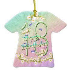 Shop 14 Birthday Rainbow T-Shirt Ornament created by anuradesignstudio. 14th Birthday, Happy Birthday, Rainbow Birthday, Christmas Ornaments, How To Make, T Shirt, Clothes, Happy Brithday, Supreme T Shirt