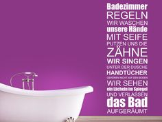 Wandtattoo Badezimmer Regeln. Ein stylisches Spruchband für die Wände im Bad.