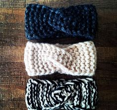 The Twisty Headband chunky knit headband warm knit by rustiknits More