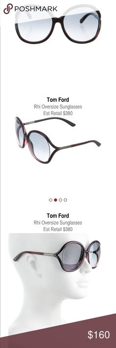 "🕶 Purple acetate Tom Ford ""Rhi"" sunglasses!  🕶 Purple acetate Tom Ford Rhi oversize sunglasses with gunmetal hardware and gradient lenses. Includes case.  Style #: TF252  Frame Width: 5.25"" Frame Height: 2.5""  Estimated Retail: $380 Designer: Tom Ford Tom Ford Accessories Sunglasses"