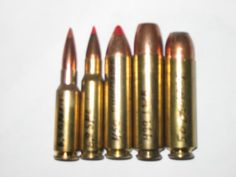 Left to right: 6.5mm Grendal, 6.8mm Rem SP, .450 Bushmaster, .499 LWR and .50 Beowulf.
